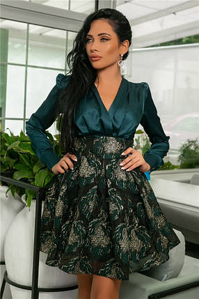 Женское Платье Изумруд (141)710-1, (3 цвета). Ткань: турецкая органза +шёлк арман :42,44,46,48,50., фото 2