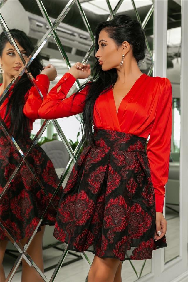 Женское Платье Красный (141)710-3, (3 цвета). Ткань: турецкая органза + шёлк армани 42,44,46,48,50.