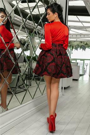 Женское Платье Красный (141)710-3, (3 цвета). Ткань: турецкая органза + шёлк армани 42,44,46,48,50., фото 2