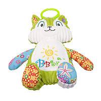 Мягкая игрушка подвеска на кроватку/ коляску для новорожденного Котик BBSKY 25см Разноцветная (47341)