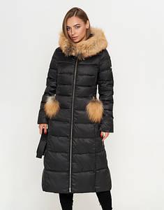 CLASNA | Женская куртка с опушкой 917 черный