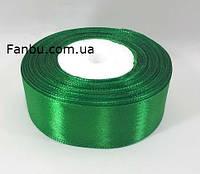 Лента атласная зеленая однотонная (ширина 2.5см)1 рул-22м, фото 1