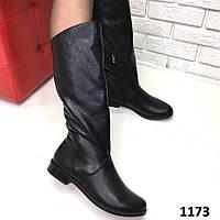 Женские кожаные сапоги осень-весна (демисезон) черные