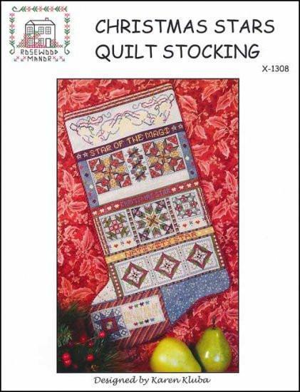 Схема для вышивки Rosewood Manor Christmas Stars Quilt Stocking
