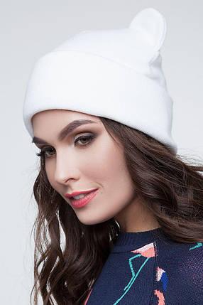 Женская зимняя шапка с ушками белый, фото 2