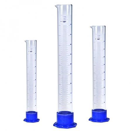 Цилиндр мерный на пластмассовом основании с пластмассовой пробкой 25 мл, стекло, фото 2
