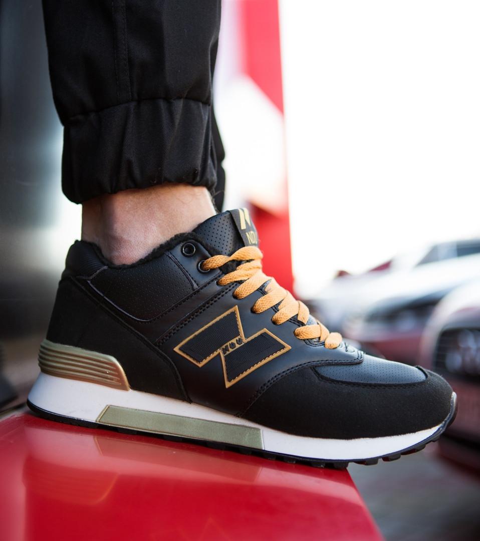 Мужские кроссовки NDU Vintage повседневные удобные  на меху зима черные с оранжевым, ТОП-реплика