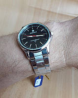 Часы Perfect A0149 мужские серебристые с черным циферблатом на  браслете диаметр 40 мм копия