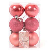 Набор елочных шаров 6см, цвет - клубника, 6шт: глитер, матовый, перламутр - по 2шт