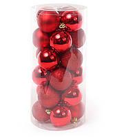 Набор елочных шаров, 6см, 24шт; цвет - красный; матовый, глянец - по 6шт в каждом цвете, фото 1
