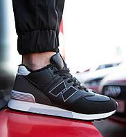 Мужские кроссовки NDU Vintage спортивные удобные  на меху на каждый день зима в черном цвете, ТОП-реплика, фото 1