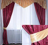 "Комплект ламбрекен с шторами ""Маргарита""на карниз 2,5-3м.Код 097лш189(золото)"