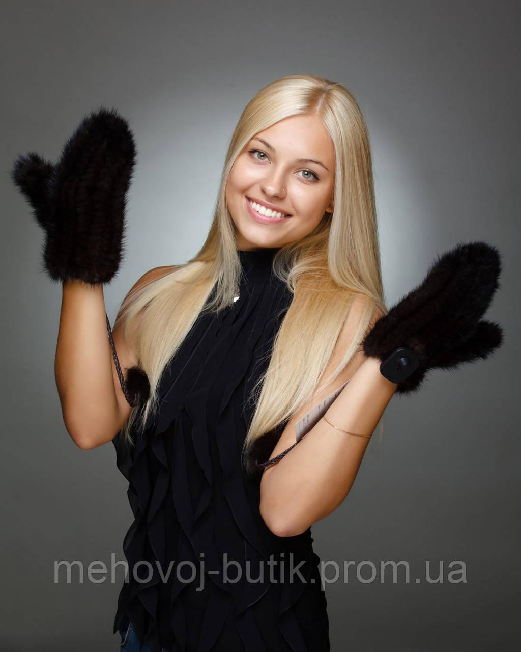 варежки из вязаной норки шоколад цена 1 550 грн купить в