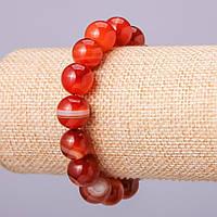 Браслет из натурального камня Сердолик шарик d-12мм обхват 18см на резинке
