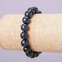 """Браслет из натурального камня """"Апатит"""" имитация синий шарик граненный d-10мм обхват 18см на резинке"""