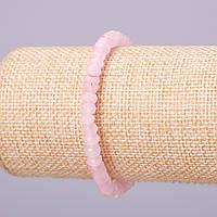 """Браслет из натурального камня """"Розовый кварц"""" имитация розовый граненный рондель d-6х4мм обхват 18см на резинке"""