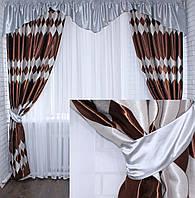 """Комплект ламбрекен с шторами """"Маргарита""""на карниз 2,5-3м.Код 097лш228(А)(серый)"""