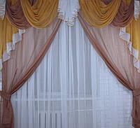 Ламбрекен со шторами 3м. №45. Цвет коричневый с янтарным.