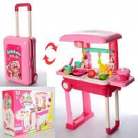 Детская игрушечная Кухня 53-24.5-63 см,чемодан-тележка, плита-зв,св,посуда продукты, бат,в кор,30-39-14см