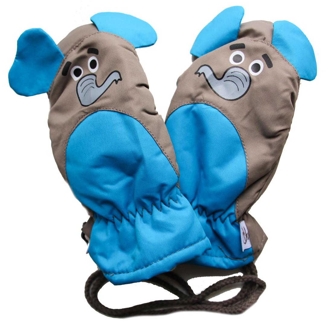 Детские зимние непромокаемые термо варежки для ребенка 4-5 лет
