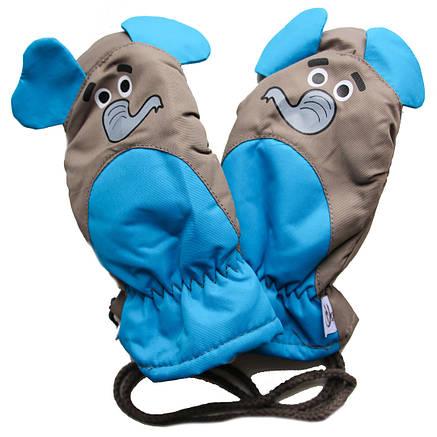Детские зимние непромокаемые термо варежки для ребенка 4-5 лет, фото 2