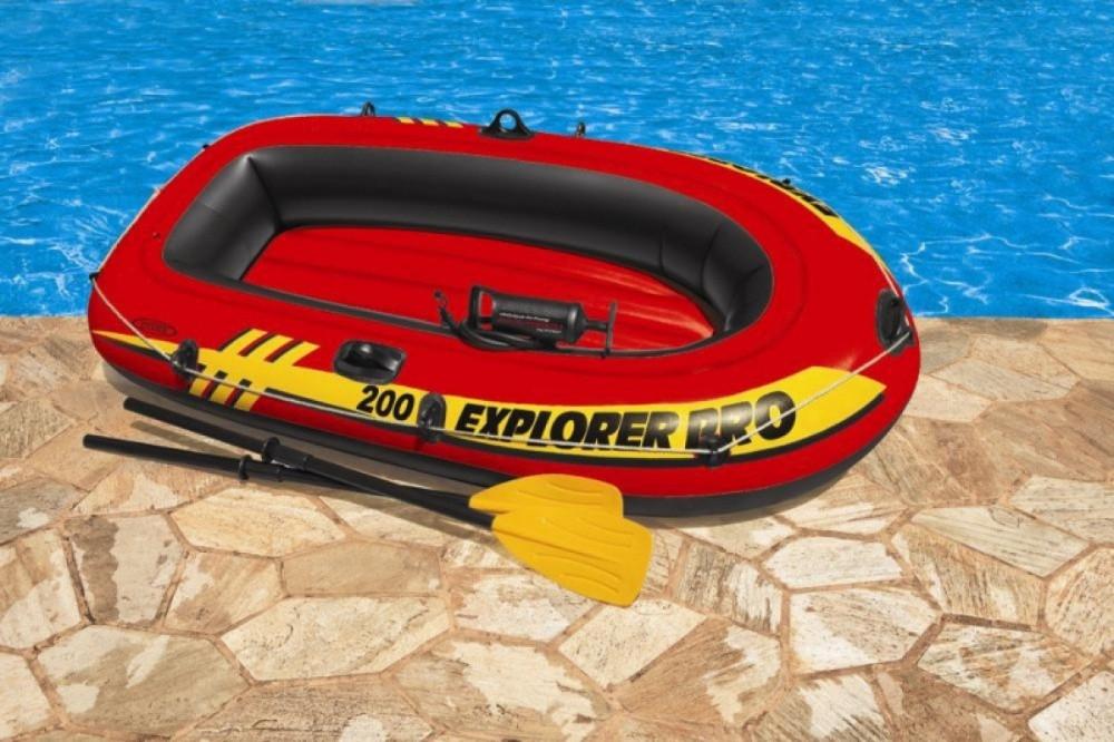 Двухместная надувная лодка lntex + пластиковые весла и ручной насос Explorer Pro 200 Set Човен