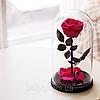 Живая вечная роза в стеклянной колбе Малиновый радолит