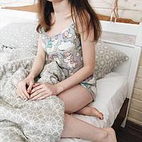 Женская пижамка Единорожки подарок девушке серая