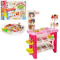 Детский Магазин Супермаркет игровой 668-19-21,  прилавок, продукты, 40 предметов, сканер на бат-зв, св,