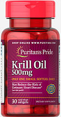 Puritan's Pride Red Krill Oil 500 mg, Масло криля (30 капс.)