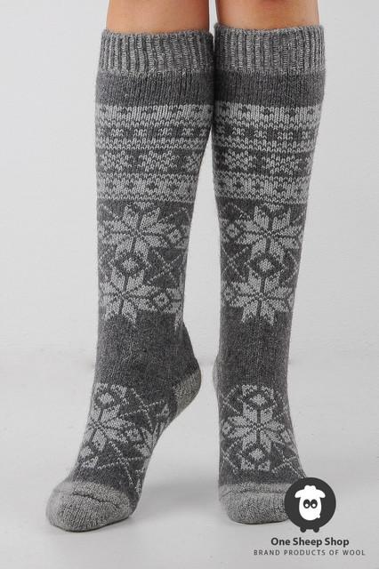 Шерстяные гольфы, высокие вязаные носки