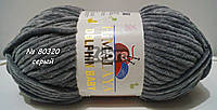 Нитки пряжа для вязания велюровая плюшевая DOLPHIN BABY Долфин Беби № 80320 - серый