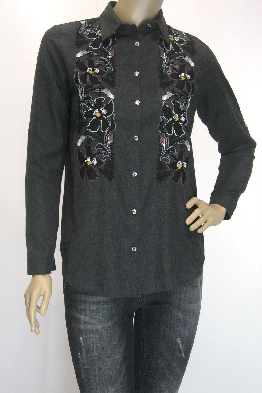 Жіноча сорочка фланель з вишивкою сезон осінь-зима