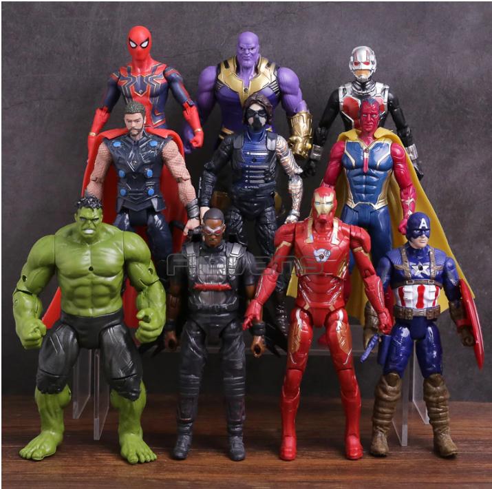 Набор Марвел Супергерои 10 шт. 17см. Мешок в ПОДАРОК Мстители  Халк Вижен Тор Капитан Америка Спайдермен