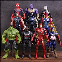 Набор Марвел Супергерои 10 шт. 17см. Мешок в ПОДАРОК Мстители  Халк Вижен Тор Капитан Америка Спайдермен, фото 1