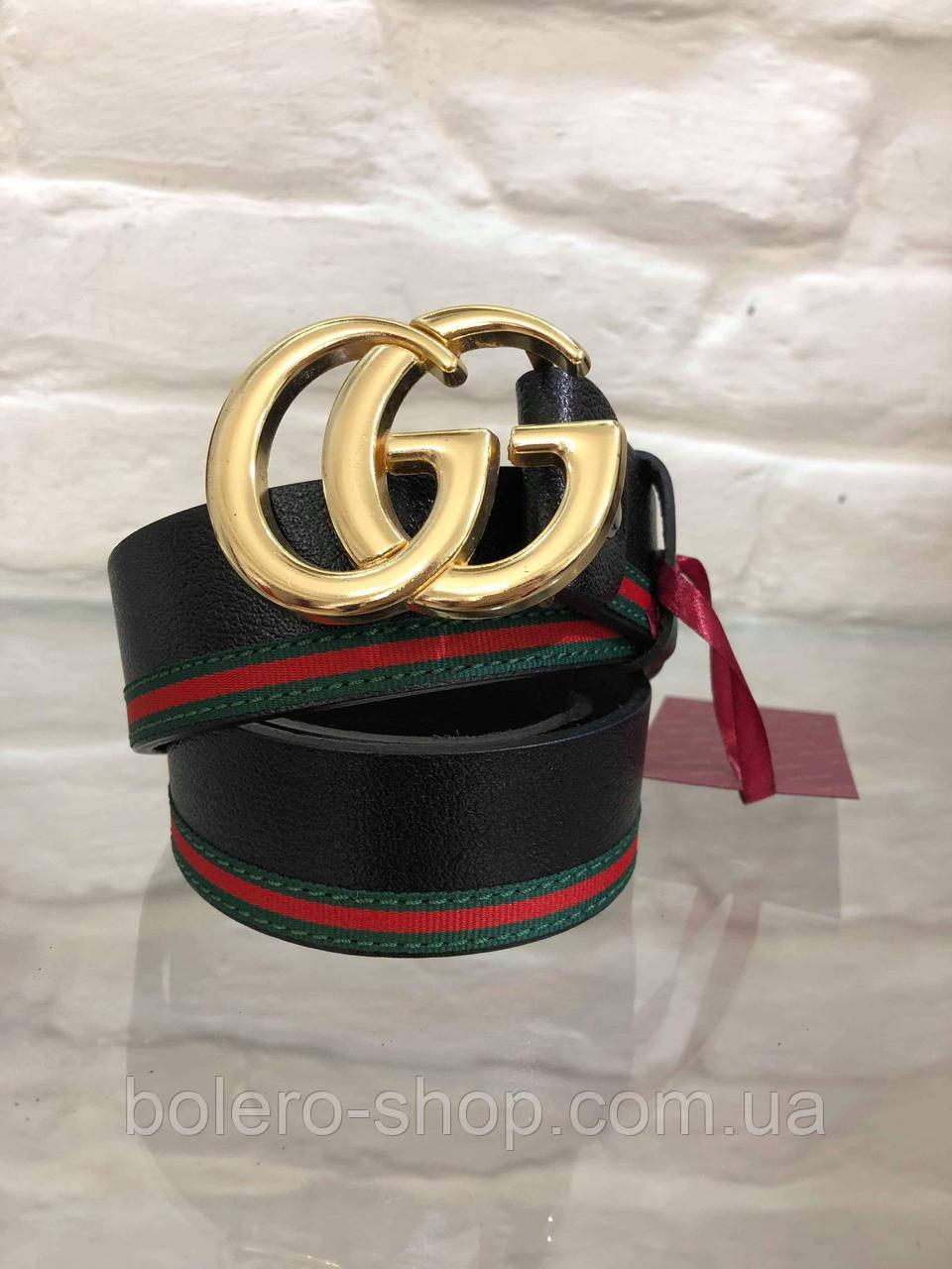 Кожаный женский пояс ремень черный Gucci