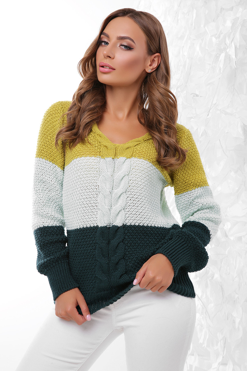 Женский вязаный трёхцветный свитер, размер 44-50, фисташка/мята/т.зеленый