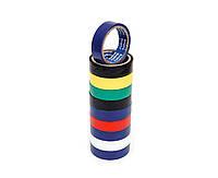 """Ізолента ПВХ 20м """"RUGBY"""" асорті (10 шт в упаковці) (1000-115)"""