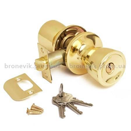 Ручка защелка Avers 0590-01-G с фиксацией+ключи (Золото)