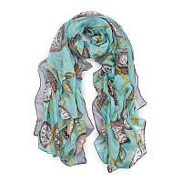 Женский легкий голубой шарф с рисунком в виде часов