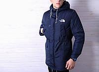 Парка мужская The North Face зимняя теплая стильная молодежная повседневная (синяя), ТОП-реплика