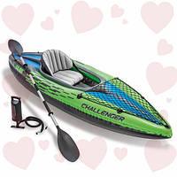 Надувная байдарка одноместная Challenger K1 Kayak Intex 68305 (76х247х38 см.)