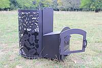 """Дровяная банная печь каменка """"Жанна"""" (с выносом, со стеклом, с парогенератором), 4мм"""