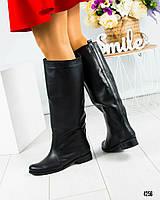 Сапоги-трубы женские кожаные черные, фото 1