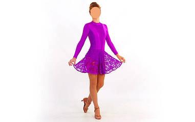 Платье для танцев (бейсик) с гипюром UR фиолетовое UR DR-1641-V