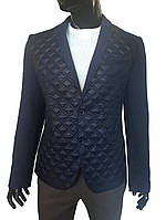 Мужской пиджак №113/1 Твид 25 + стеганка темно-синяя