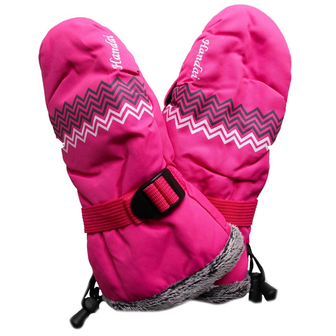 Детские зимние термоварежки для девочки 9-10 лет малиновые