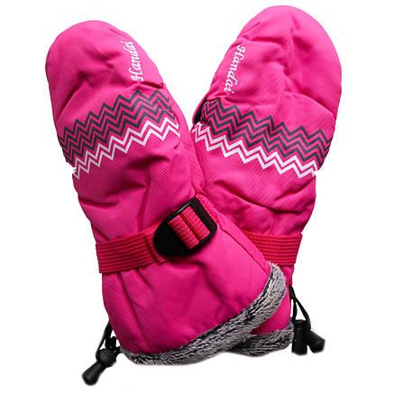 Детские зимние термоварежки для девочки 9-10 лет малиновые, фото 2