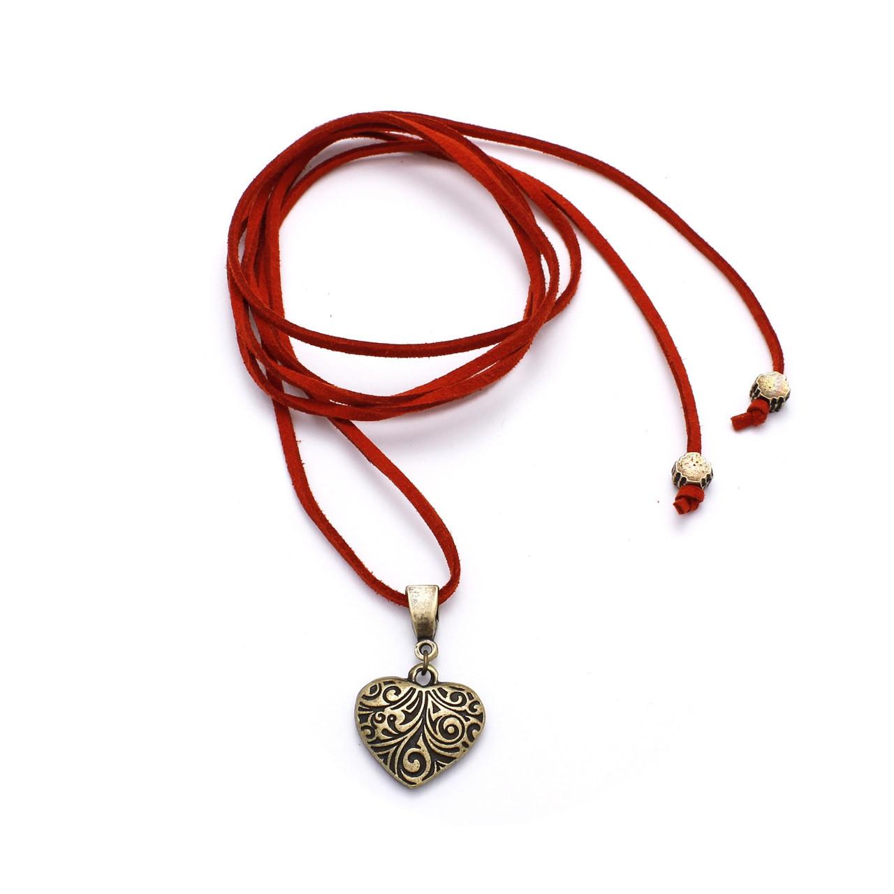 Чокер Сердце (замша, бронза)