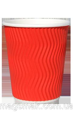 Стакан бумажный рифленый 185ml красный, фото 2